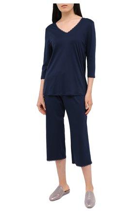 Женская хлопковая пижама HANRO темно-синего цвета, арт. 076791 | Фото 1
