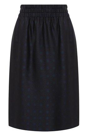 Женская юбка из вискозы и шелка DRIES VAN NOTEN темно-синего цвета, арт. 202-30880-1331 | Фото 1