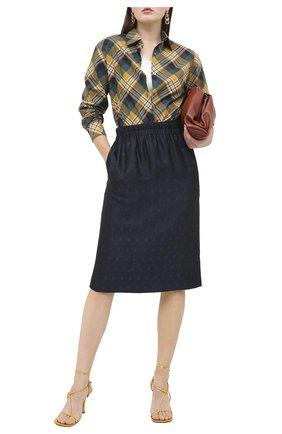 Женская юбка из вискозы и шелка DRIES VAN NOTEN темно-синего цвета, арт. 202-30880-1331 | Фото 2