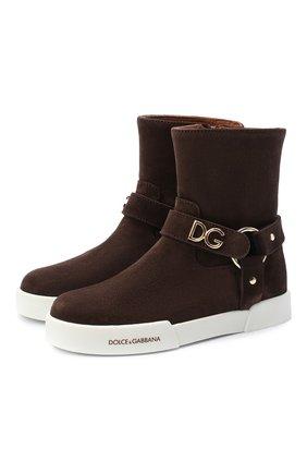 Детские замшевые ботинки DOLCE & GABBANA коричневого цвета, арт. D10990/AW997/29-36 | Фото 1