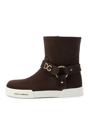 Детские замшевые ботинки DOLCE & GABBANA коричневого цвета, арт. D10990/AW997/29-36 | Фото 2