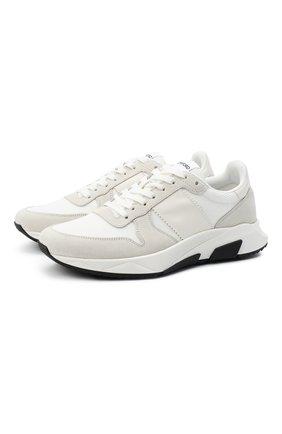 Мужские комбинированные кроссовки TOM FORD белого цвета, арт. J1262T-LCL116 | Фото 1