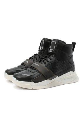 Мужские кожаные кроссовки b-ball BALMAIN черного цвета, арт. UM1C230/LCTW | Фото 1