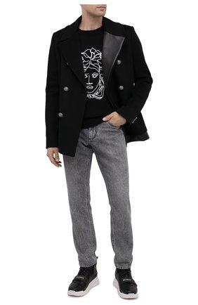 Мужские кожаные кроссовки b-ball BALMAIN черного цвета, арт. UM1C230/LCTW | Фото 2