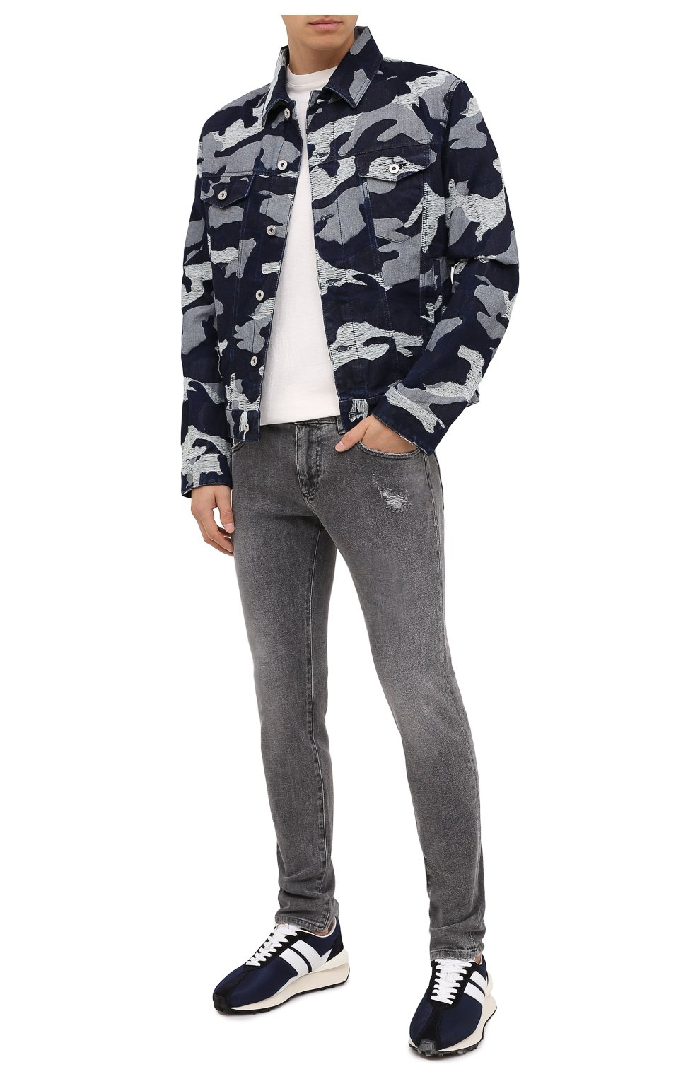 Мужские комбинированные кроссовки LANVIN темно-синего цвета, арт. FM-SKBRUC-DRAG-A20   Фото 2 (Материал внешний: Текстиль; Материал внутренний: Натуральная кожа, Текстиль; Стили: Гранж; Подошва: Массивная)