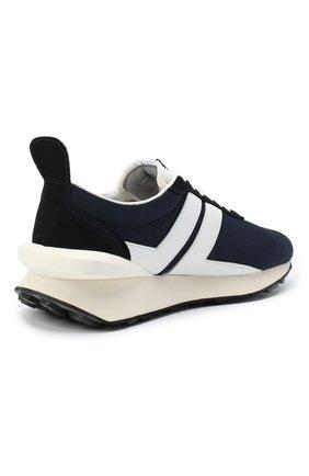 Мужские комбинированные кроссовки LANVIN темно-синего цвета, арт. FM-SKBRUC-DRAG-A20   Фото 4 (Материал внешний: Текстиль; Материал внутренний: Натуральная кожа, Текстиль; Стили: Гранж; Подошва: Массивная)