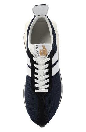 Мужские комбинированные кроссовки LANVIN темно-синего цвета, арт. FM-SKBRUC-DRAG-A20   Фото 5 (Материал внешний: Текстиль; Материал внутренний: Натуральная кожа, Текстиль; Стили: Гранж; Подошва: Массивная)