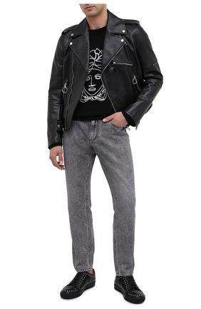 Мужские кожаные кеды LANVIN черного цвета, арт. FM-SKDBB1-NAST-H20 | Фото 2