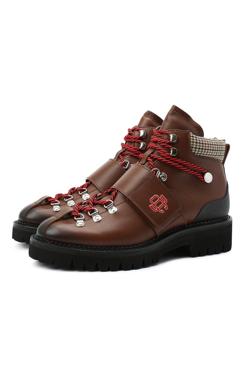 Мужские кожаные ботинки DSQUARED2 коричневого цвета, арт. ABM0055 01501574   Фото 1