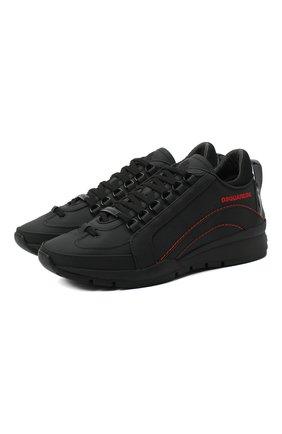 Мужские кожаные кроссовки DSQUARED2 черного цвета, арт. SNM0505 30800001 | Фото 1