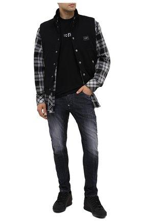 Мужские кожаные кроссовки DSQUARED2 черного цвета, арт. SNM0505 30800001 | Фото 2