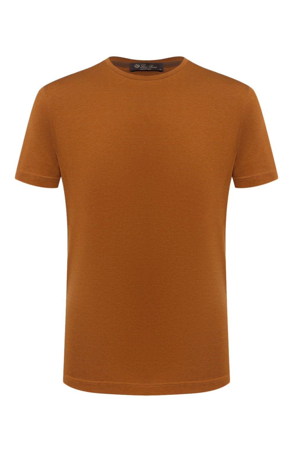 Мужская футболка из шелка и хлопка LORO PIANA светло-коричневого цвета, арт. FAF6128 | Фото 1