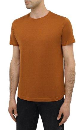 Мужская футболка из шелка и хлопка LORO PIANA светло-коричневого цвета, арт. FAF6128 | Фото 3