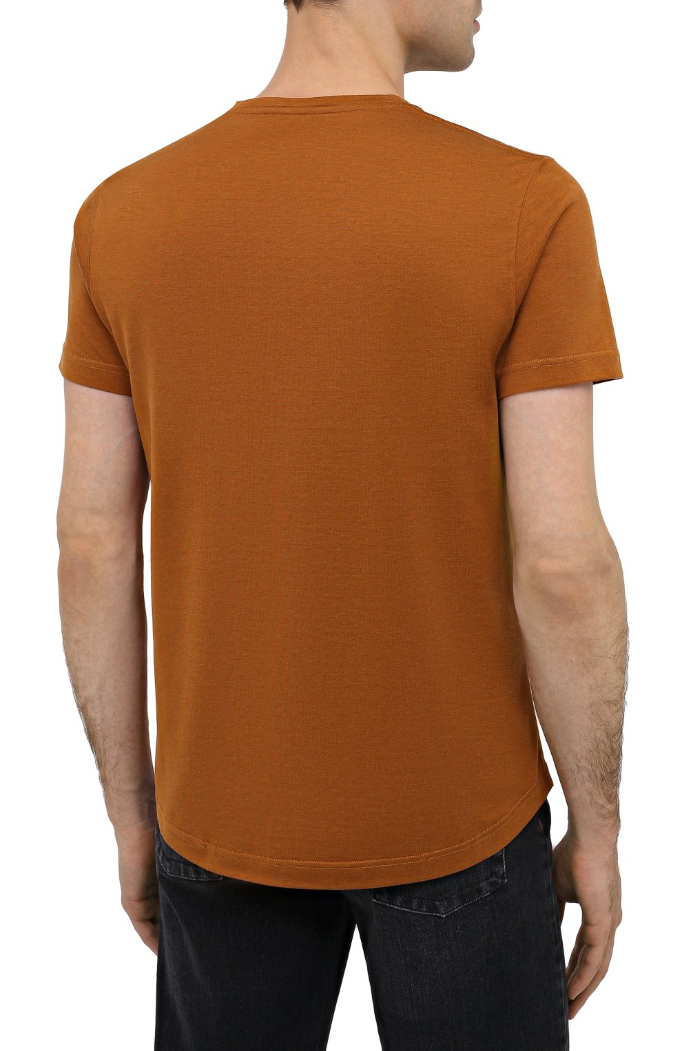 Мужская футболка из шелка и хлопка LORO PIANA светло-коричневого цвета, арт. FAF6128 | Фото 4
