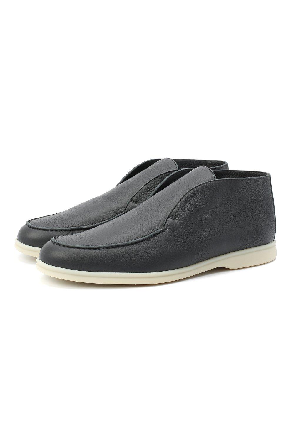 Мужские кожаные ботинки open walk LORO PIANA темно-серого цвета, арт. FAI3276 | Фото 1