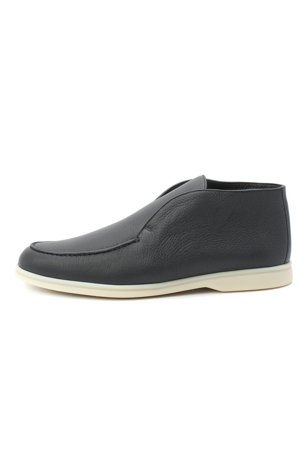 Мужские кожаные ботинки open walk LORO PIANA темно-серого цвета, арт. FAI3276 | Фото 3
