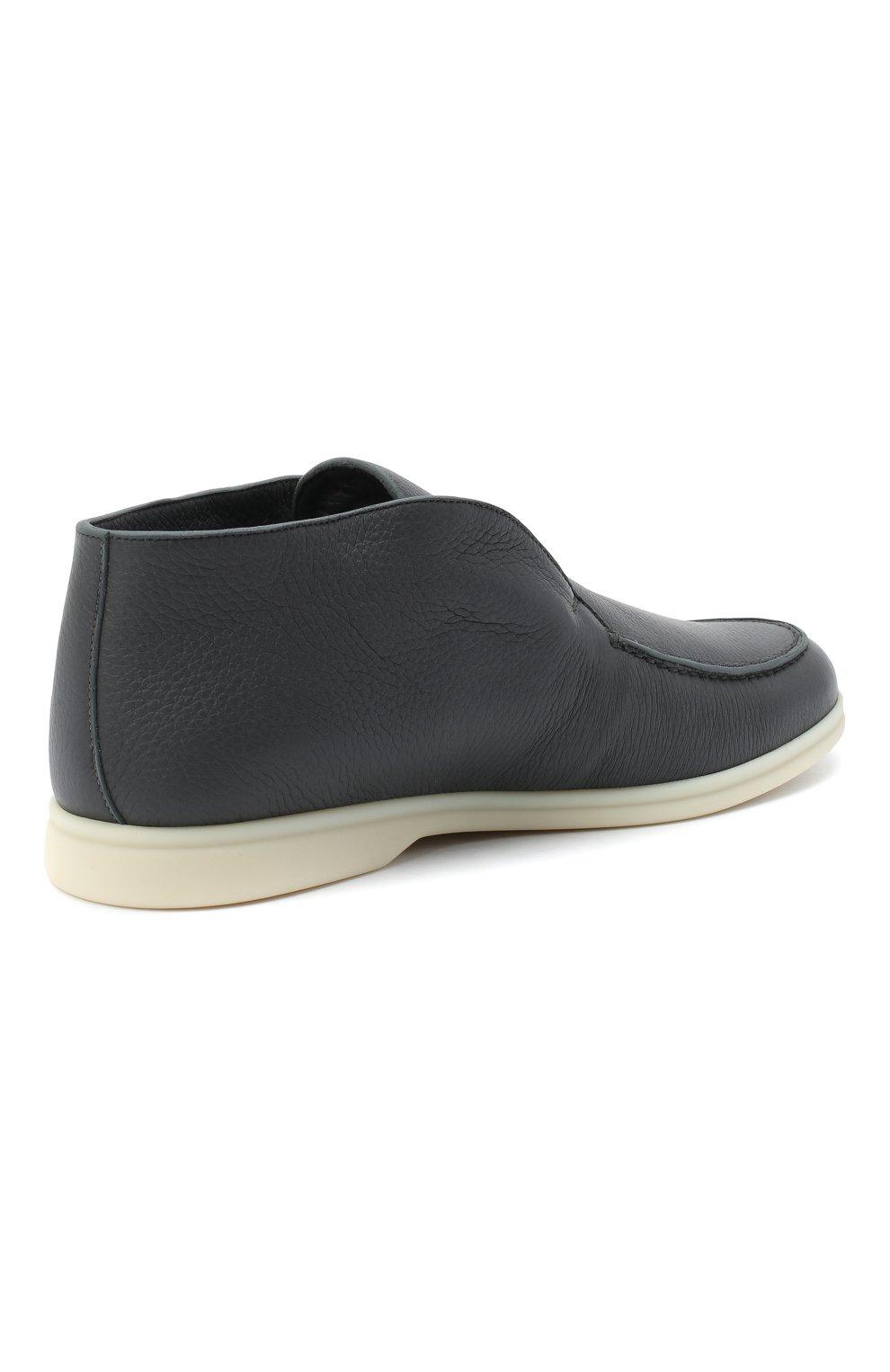 Мужские кожаные ботинки open walk LORO PIANA темно-серого цвета, арт. FAI3276 | Фото 4