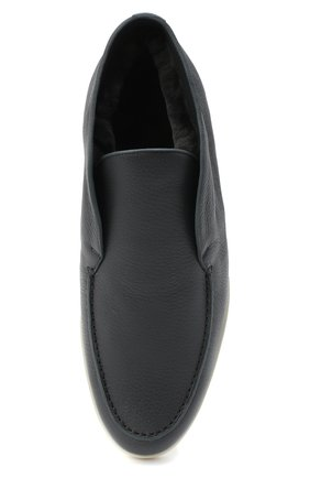 Мужские кожаные ботинки open walk LORO PIANA темно-серого цвета, арт. FAI3276 | Фото 5