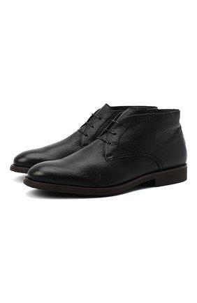 Мужские кожаные ботинки MORESCHI черного цвета, арт. 43568/162/CERV0/F.PELLICCIA | Фото 1