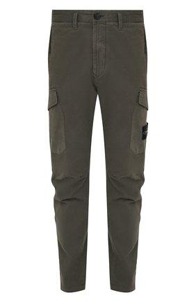 Мужской хлопковые брюки-карго STONE ISLAND зеленого цвета, арт. 731531310 | Фото 1