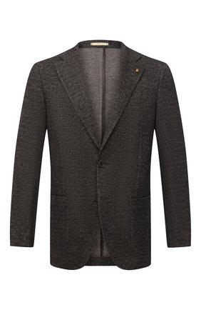Мужской пиджак из шерсти и хлопка SARTORIA LATORRE темно-коричневого цвета, арт. JEF74 JA3133 | Фото 1