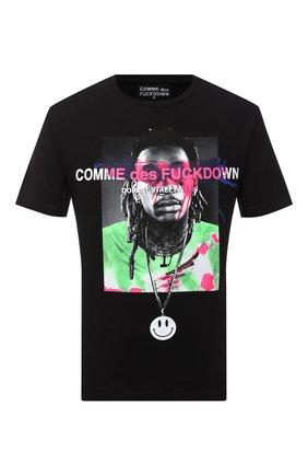 Мужская хлопковая футболка COMME DES FUCKDOWN черного цвета, арт. CDFU1086 | Фото 1