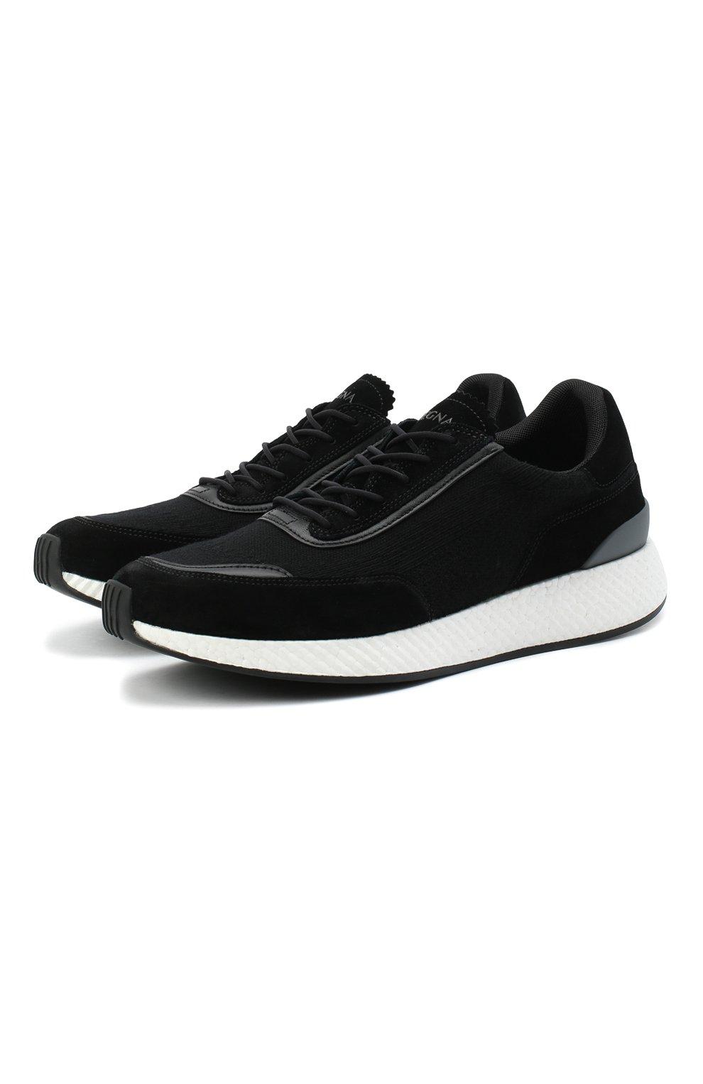 Мужские комбинированные кроссовки Z ZEGNA черного цвета, арт. A4721X-LHWSD   Фото 1