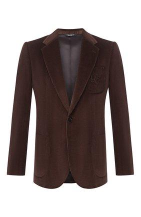 Мужской хлопковый пиджак DOLCE & GABBANA коричневого цвета, арт. G20S5Z/FUVB2 | Фото 1