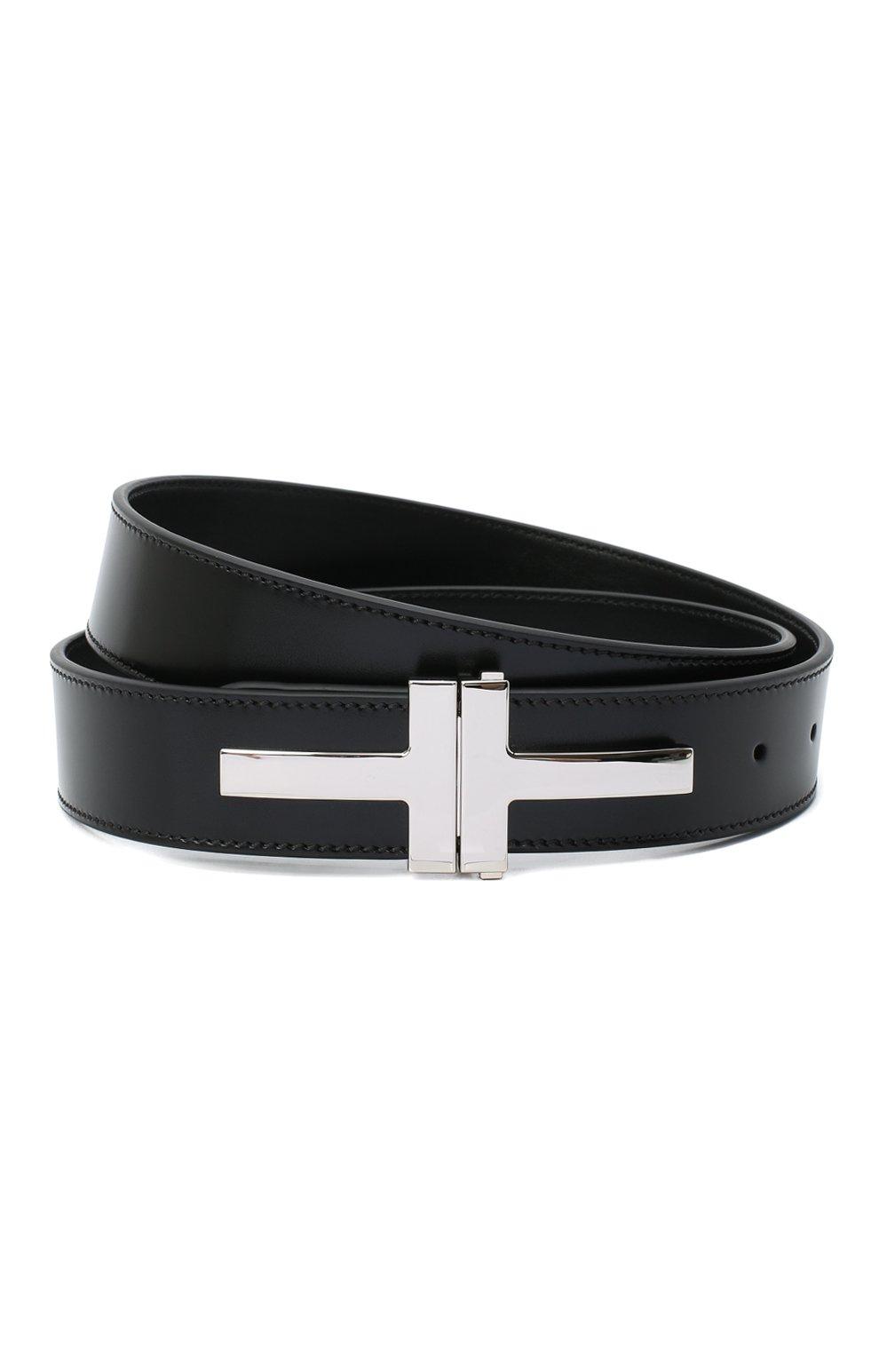 Мужской кожаный ремень TOM FORD черного цвета, арт. TB252P-LCL052 | Фото 1 (Случай: Формальный)
