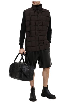 Мужская кожаная дорожная сумка BOTTEGA VENETA черного цвета, арт. 629144/VCRU2   Фото 2