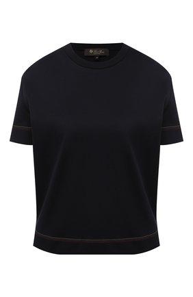 Женская хлопковая футболка LORO PIANA темно-синего цвета, арт. FAL2559 | Фото 1