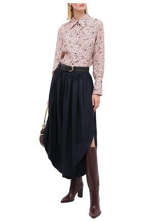 Женские шерстяные брюки CHLOÉ темно-синего цвета, арт. CHC20APA23161   Фото 2