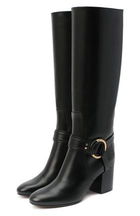 Женские кожаные сапоги demi CHLOÉ черного цвета, арт. CHC20A361L4 | Фото 1