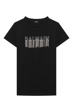 Детская хлопковая футболка BALMAIN черного цвета, арт. 6N8061/NC610/4-10 | Фото 1