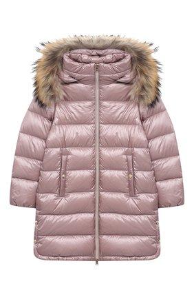Детское пуховое пальто HERNO розового цвета, арт. PI0088G/12017/10A-14A | Фото 1