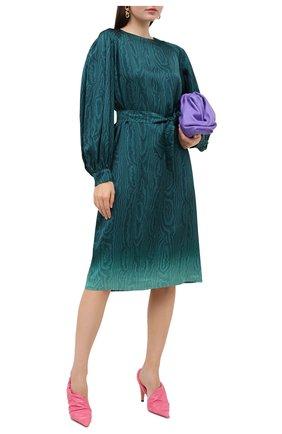 Женское платье из вискозы DRIES VAN NOTEN бирюзового цвета, арт. 202-38645-1158 | Фото 2