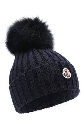 Женская шерстяная шапка MONCLER темно-синего цвета, арт. F2-093-3B702-01-A9327 | Фото 1