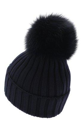 Женская шерстяная шапка MONCLER темно-синего цвета, арт. F2-093-3B702-01-A9327 | Фото 2