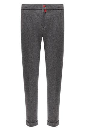 Мужские кашемировые брюки KITON серого цвета, арт. UFP1LACK01T20 | Фото 1 (Длина (брюки, джинсы): Стандартные; Материал внешний: Шерсть; Случай: Повседневный; Стили: Кэжуэл)