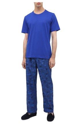 Мужские хлопковые домашние брюки DEREK ROSE темно-синего цвета, арт. 3564-PARI018 | Фото 2