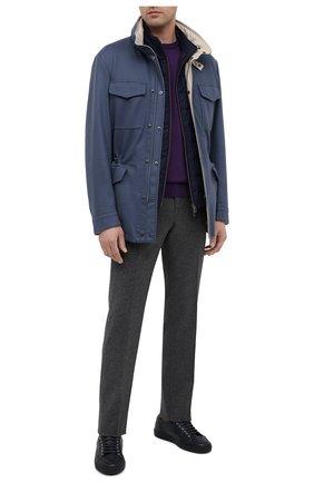 Мужской джемпер из кашемира и шелка IL BORGO CASHMERE фиолетового цвета, арт. 54-1226G0   Фото 2