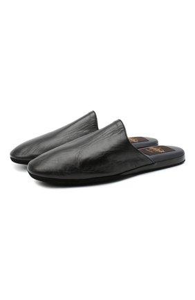 Мужского домашние кожаные туфли ALDO BRUE черного цвета, арт. PCU056-NT   Фото 1