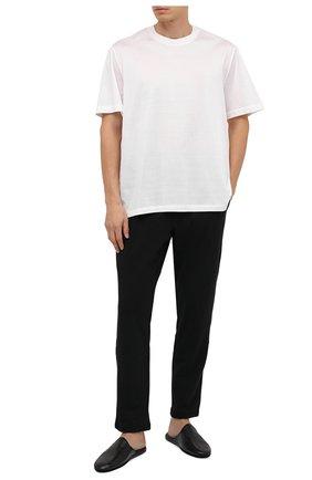 Мужского домашние кожаные туфли ALDO BRUE черного цвета, арт. PCU056-NT   Фото 2