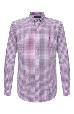 Мужская хлопковая рубашка POLO RALPH LAUREN розового цвета, арт. 710804256/4666B | Фото 1