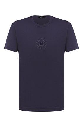 Мужская хлопковая футболка DOLCE & GABBANA фиолетового цвета, арт. G8MG5Z/FU7EQ   Фото 1 (Материал внешний: Хлопок; Длина (для топов): Стандартные; Рукава: Короткие; Принт: Без принта; Стили: Кэжуэл)