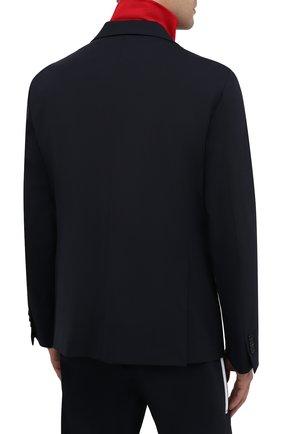 Мужской шерстяной пиджак DSQUARED2 темно-синего цвета, арт. S74BN1002/S40320   Фото 5 (Материал внешний: Шерсть; Рукава: Длинные; Случай: Повседневный; Длина (для топов): Стандартные; Материал подклада: Синтетический материал; 1-2-бортные: Однобортные; Пиджаки М: Приталенный; Стили: Кэжуэл)