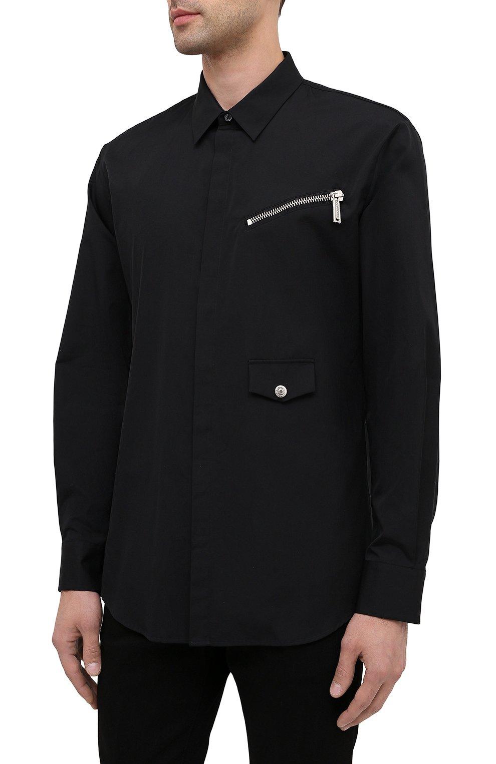 Мужская хлопковая рубашка DSQUARED2 черного цвета, арт. S74DM0469/S36275 | Фото 3
