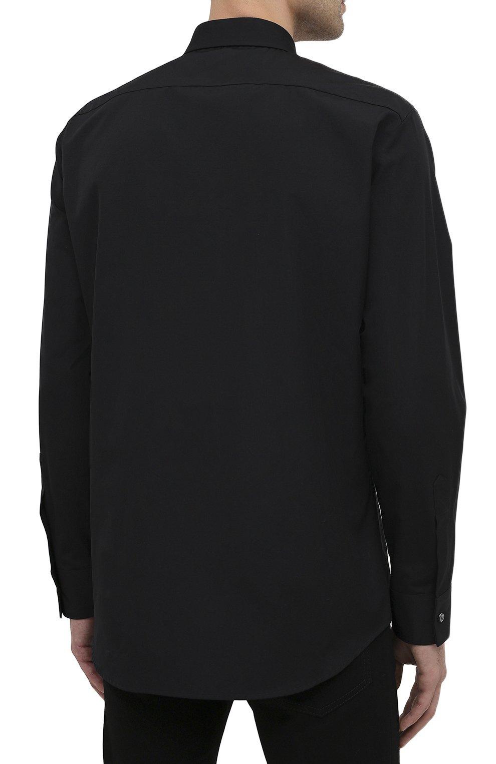 Мужская хлопковая рубашка DSQUARED2 черного цвета, арт. S74DM0469/S36275 | Фото 4