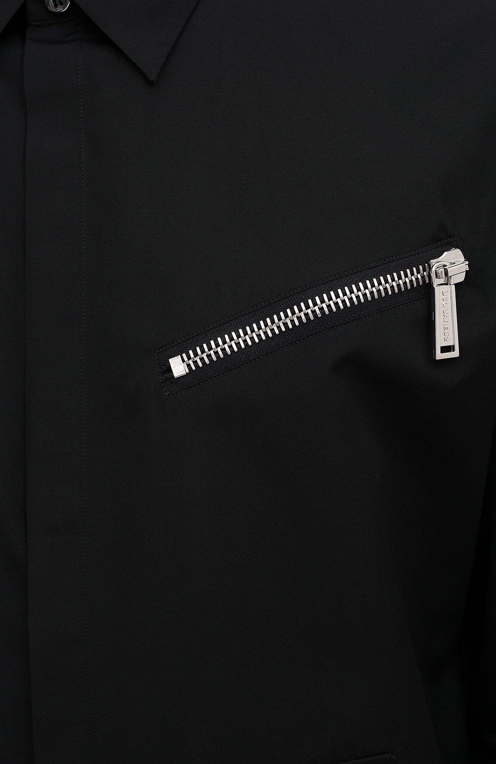 Мужская хлопковая рубашка DSQUARED2 черного цвета, арт. S74DM0469/S36275 | Фото 5