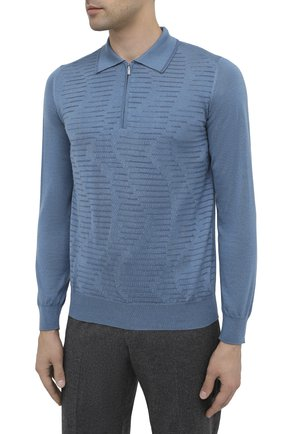Мужское поло из кашемира и шелка ZILLI голубого цвета, арт. MBU-PZ082-VAWA1/ML01 | Фото 4
